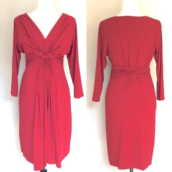 35bf6069f0947 Seraphine Women/' s Knot Front V Neck Maternity Dress Claret